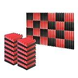 Arrowzoom 24 Panels Cuña Wedge absorción de sonido Espuma acústica Absorcion aislamiento acustico auto extinguible 25x25x5cm Negro & Rojo
