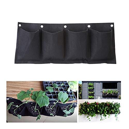 EJY 4-Poche Tenture Murale Respirant Plante Sac De Rangement Maison Décoration Intérieure Mural Plantation Sac en Tissu(Horizontal)