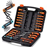 REXBETI Magnetic Screwdriver Set, 63 in 1 Multifunctional Repair Tool Kit with Slotted Phillips Screwdrivers, Precision Screwdrivers, Inch Metric Folding Allen Wrench Set and Screwdriver Bits