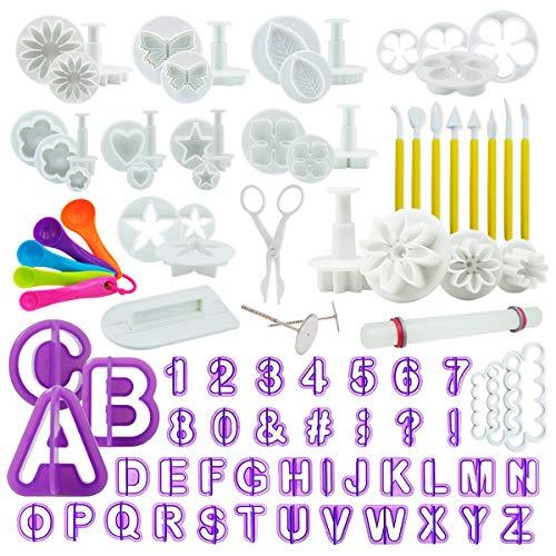 int!rend 94-teiliges Fondant Ausstecher Set, Ausstechformen für Buchstaben, Zahlen, Motive für Torten-Deko, Premium Backzubehör, Modellierwerkzeug für Kuchen, Torten, Cupcakes
