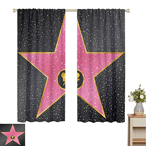 Best Review Of June Gissing Popstar Party Curtains for bedroo Hollywood Walk of Fame Symbol Celebrit...