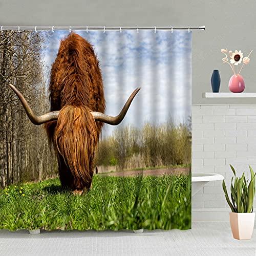 MUMUWUSG Braun Tier Kuh Wasserdicht Duschvorhang 180X200Cm,Antischimmel Duschvorhänge Waschbar,Shower Curtains Mit 12 Hochwertiges Duschvorhangringe Für Badewanne Und Bathroom