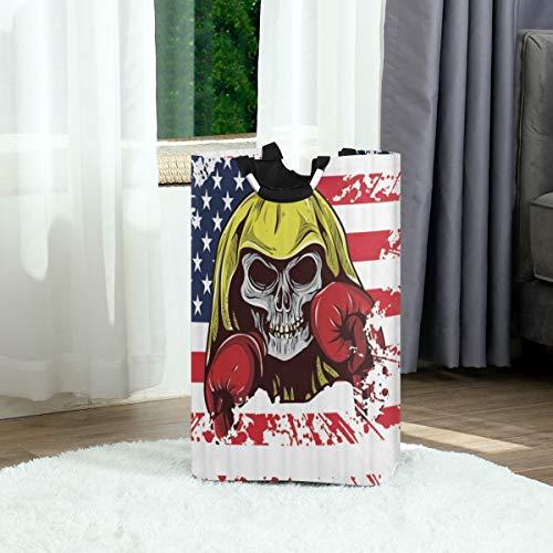 ZOANEN Wäschesack,USA amerikanische Flagge Schädel mit Boxhandschuhen Sterne Streifen Unabhängigkeitstag,Großer faltbarer Wäschekorb,zusammenklappbarer Wäschekorb
