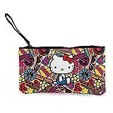 Hello Kitty - Monedero de lona con cremallera para mujer, mini bolsa de cosméticos