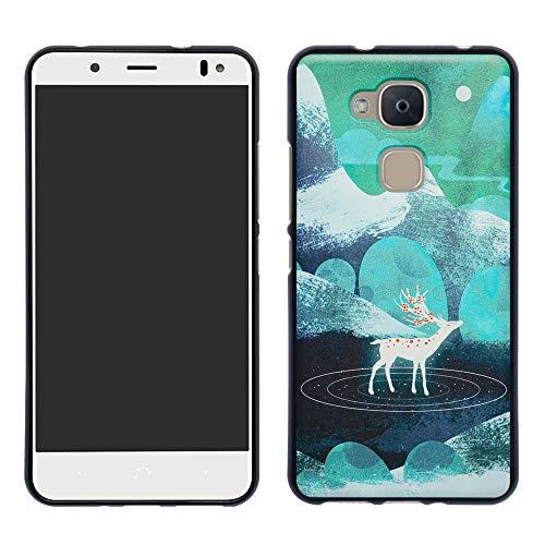 HHDY BQ Aquaris VS Plus Hülle, Painted Muster Weich Superdünne TPU Silikon Handyhülle Hülle Cover für BQ Aquaris VS Plus/Aquaris V Plus,Green Sika Deer