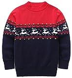 FEOYA - Jersey Algodón para Niñas Niños de Navidad Otoño Invierno Cálido Suéter de Cuello Redondo Ceñido Grueso Sudadera de Punto Infantil - Rojo - 3-5 Años