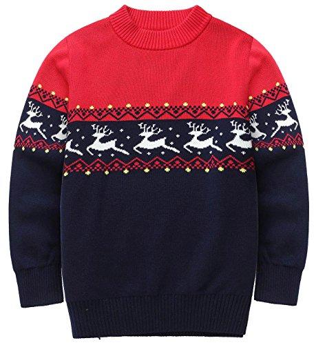 FEOYA - Jersey Algodón para Niñas Niños de Navidad Otoño Invierno Cálido Suéter de Cuello Redondo Ceñido...