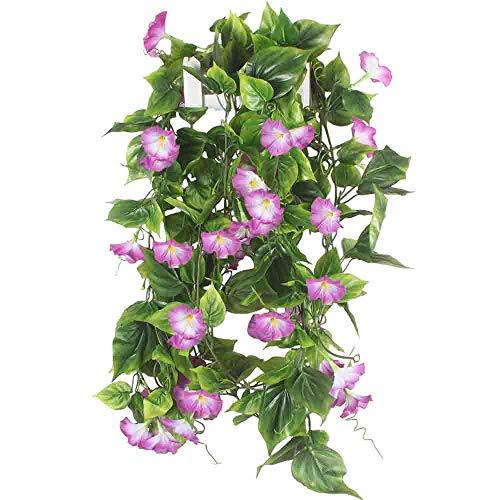 HUAESIN 2pcs Kunstblumen Girlande Künstliche Blumen Trichterwinde Ranken Hängend Girlande Seidenblumen für Balkon Draußen Fahrrad Hochzeit Garten Dekoration Treppen Dekoration Lila 210cm