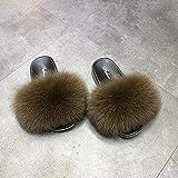 Kirin-1 Pantofole per Slide Flat per Pelliccia sintetica-36_Marrone