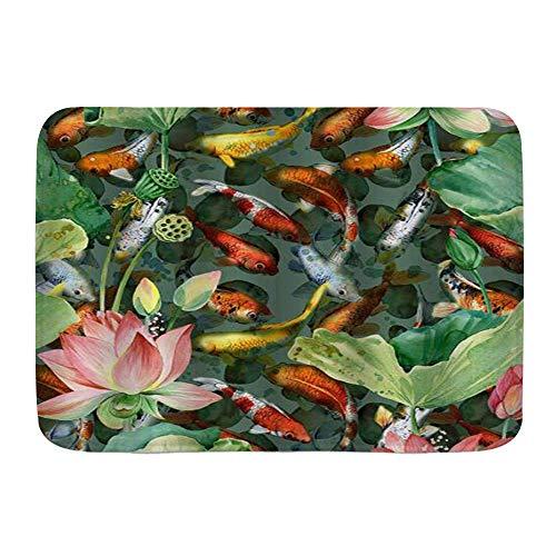 Alfombra de baño suave,realista Zen japonés jardín estanque carpa Koi con flor de loto ilustraciones Vintage,alfombras de baño con respaldo antideslizante para Navidad Acción de Gracias(80cm x 60cm)