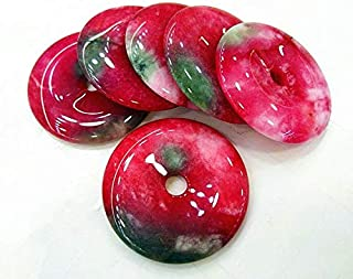 2pcs 40mm Handmade Cherry red Jade Gemstone Pendant,Donut Pi Focal Round Beads
