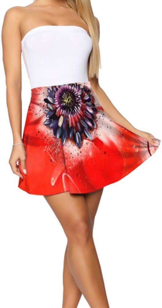 Mini Skirts Beautiful Red Poppy Painting Flared High Waisted Skirt Women's Basic Casual Mini Skater Skirt S-XL