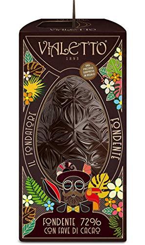 VIALETTO Uovo di Cioccolato il Fondatore | Cioccolato fondente extra 72% con fave di cacao | Uovo di Pasqua da 300 grammi