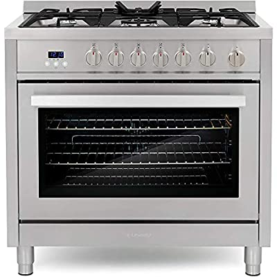 Cosmo COS-965AGFC 36 in. Gas Range with 5 Burner Cooktop, 3.8 cu. ft. Capacity Rapid Convection Oven with 5 Functions, Heavy Duty Cast Iron Grates in Stainless Steel