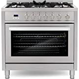 Cosmo COS-965AGFC 36 in. Gas Range with 5 Burner Cooktop, 3.8 cu. ft....