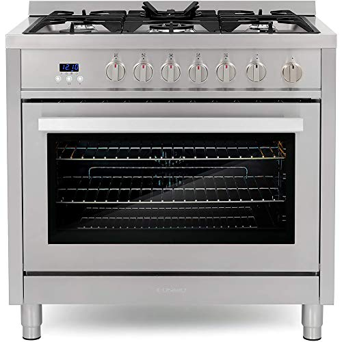 Cosmo COS-965AGFC 36 in. Gas Range with 5 Burner Cooktop, 3.8 cu. ft. Capacity Rapid Convection...