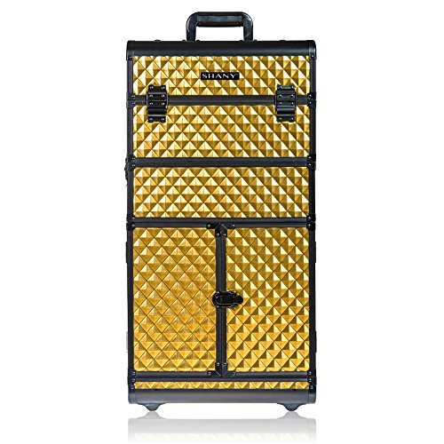 SHANY REBEL Series Pro Makeup Artists Rolling Train Case - Trolley Case - Radiant Gold