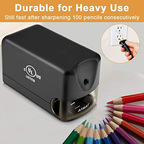 AFMAT Electric Pencil Sharpener Heavy Duty, Classroom Pencil Sharpener for 6.5-8mm No.2/Colored Pencils, UL Listed Industrial Pencil Sharpener w/Stronger Helical Blade, Best School Pencil Sharpener Photo #6
