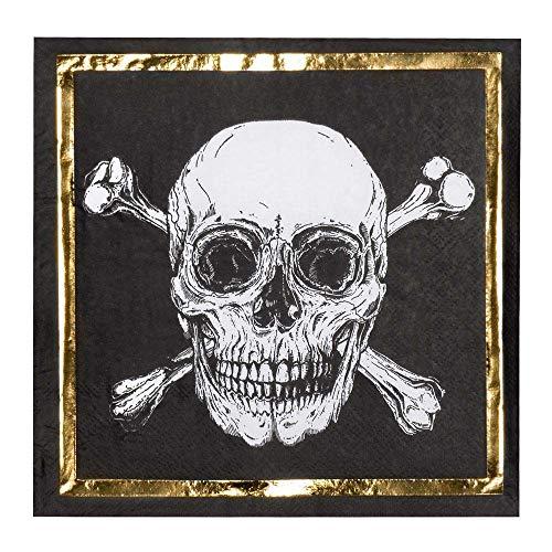 Boland 12 Serviettes en Papier Pirate Jolly Roger 33 x 33 cm