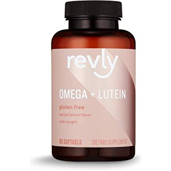 Amazon Brand - Revly Omega + Lutein with Natural Lemon Flavor, Wild-Caught Fish Oil, EPA, DHA Omega 3-Fatty Acids - 60 Softgels, 1047 mg Omega 3s per Serving (2 Softgels), Satisfaction Guaranteed