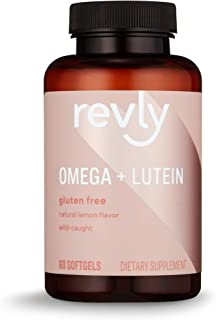 Amazon Brand - Revly Omega + Lutein with Natural Lemon Flavor, Wild-Caught Fish Oil, EPA, DHA Omega 3-Fatty Acids - 60 Sof...