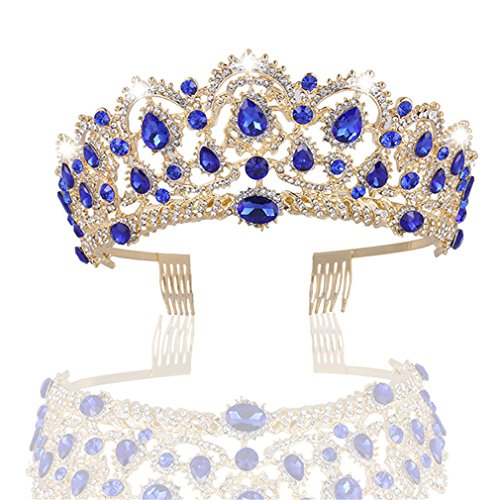 MACOIOR Crowns Tiaras for Women, Baroque Royal Prom Queen Crown Rhinestone Crystal Bridal Crowns Tiaras with Comb Pageant Crowns Princess Crown