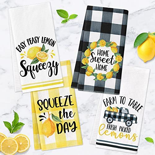 Lemon Kitchen Towels Lemonade Summer Tea Towels Yellow Black Buffalo Plaid Squeeze The Day Farmhouse Absorbent Dishcloths for Cleaning Drying Cooking Baking Set of 4