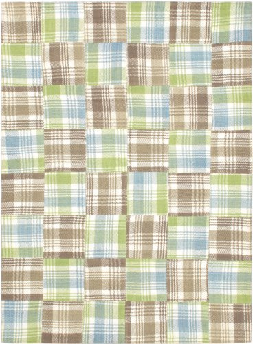 eCarpetGallery Area Rug for Living Room, Bedroom | Hand-Knotted Wool Rug | Scottish Patch Transitional Green Dhurrie 5