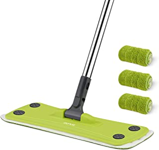 Professional Microfiber Mop OUNUO 360 Rotating Hardwood Floor Mop with Stainless Steel Handle and 3 Washable Reusable Flat Mop Pads for Wet or Dry Floor Cleaning