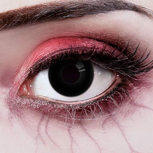 Couleur des lentilles de contact The Dark Eye in schwarz de aricona – années couvrant la lentille à terme pour les yeux sombres et claires- sans correction- les lentilles colorées pour le carnaval- des soirées à thème et des costumes d'Halloween