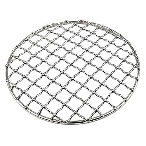 Tekaopuer Parrilla de titanio al aire libre, rejilla de rejilla de rejilla de carbón, placa de camping, parrilla de refrigeración para jardín, senderismo, senderismo (redonda plateada)
