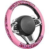 COFIT Funda para Volante con Patrón, Elegante Funda para Volante con Patrón de Grano de Leopardo Rosa para Conducir Coches Deportivos para Hombres y Mujeres, M 37-38cm