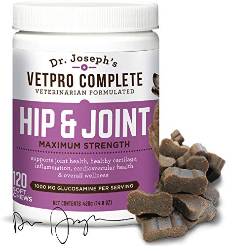 VetPro Complete Glucosamine for Dogs Hip & Joint Care - Maximum Strength Soft Chews with Chondroitin, MSM, Turmeric, Vitamin C, Omega 3 - Treats Hip Dysplasia, Arthritis, Pain - 120 Chicken Flavor