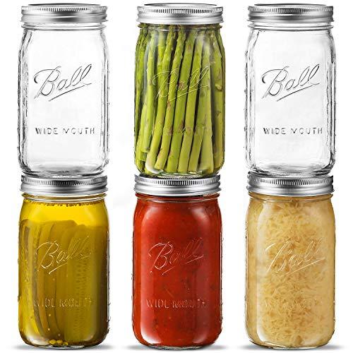 Ball-Mason Jar Wide Mouth Mason Jar mit luftdichten Deckeln und Bändern – zum Konservieren, Gären, Beizen, Einfrieren – Glas, mikrowellen- und spülmaschinenfest. + SEWANTA Glasöffner