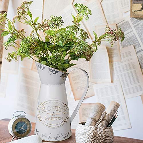 "Fovasen Rustic Vase for Flower Home Decor,Metal Shabby Chic Farmhouse Vase Decorative Vase Pitcher Holder for Kitchen Bedroom/Table Centerpieces - 8.9"""
