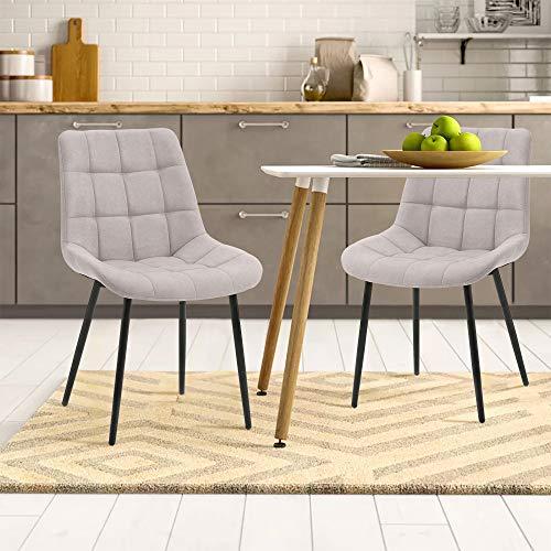 Keebgyy Juego de 2 sillas de comedor con cojín de tela, sillas auxiliares, sillas de oficina con patas de metal para comedor, salón, cocina, color gris