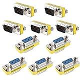 Runshuangyu Set of 10 15Pin DB15 VGA SVGA Male to Female Monitor Gender Changer Converter Coupler Adapter for Monitors, HDTV's, Projectors, VGA Splitters, KVM