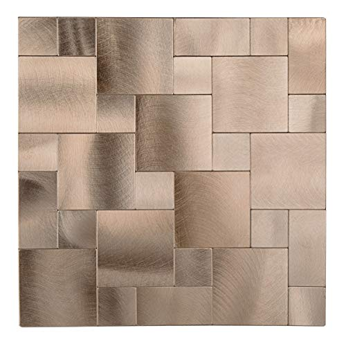 Decopus Metal Tile Backsplash Peel and Stick (Square Maze IS50 Copper Gold, 5pc Pack 12 x12 , 4mm Thick ), for Kitchen Wall Bathroom Wall Accent; Metal Stick On Tile