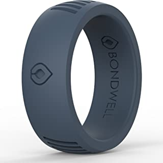 BONDWELL Silicone Wedding Ring for Men Save Your Finger & A Marriage Safe, Durable Rubber Wedding Band for Active Athletes, Military, Crossfit, Weight Lifting, Workout