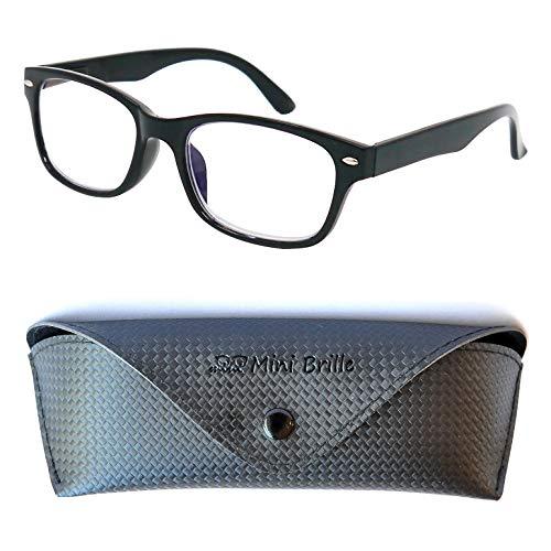 Modische Blaulichtfilter Lesebrille mit transparenten Gläsern, GRATIS Brillenetui, Kunststoff Rahmen (Schwarz), Anti Blaulicht Brille Damen und Herren +1.5 Dioptrien