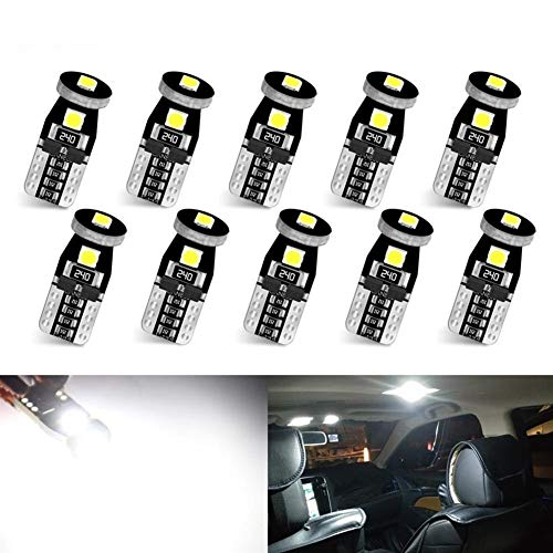 ESORST Multifunción 10pcs T10 LED Bombillas LED Canbus W5W 168 194 6000K Blanca lámpara de señal Cúpula de Lectura de matrículas Coche Enciende la luz Interior Auto 12V Ahorro de energía y Duradero