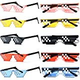 Wholesale Unisex Thug Life Party Sunglasses 8 Bits Style Pixel Mosaic MLG Photo Props Glasses, Mix, One Size