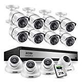 ZOSI 16CH 1080P Surveillance DVR System 16 Channel 2.0MP Security DVR and 8 Bullet Cameras, 4 Dome Cameras for Outdoor Indoor Security Supports Motion Detection Remote Access, 2TB Hard Drive