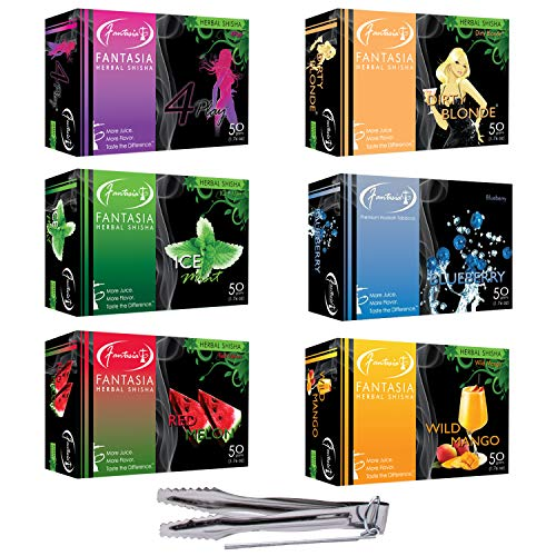 Hookah Flavors Fantasia Herbal Shisha 300g with VeeBoost Charcoal Tongs, 6 Nicotine Free 50g Flavors and 1 Coal Tongs Accessories Set