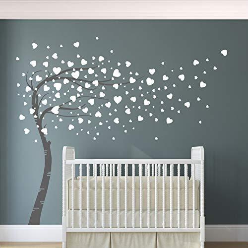 Corazones y árbol vinilo adhesivo de pared para habitación infantil, decoración del hogar