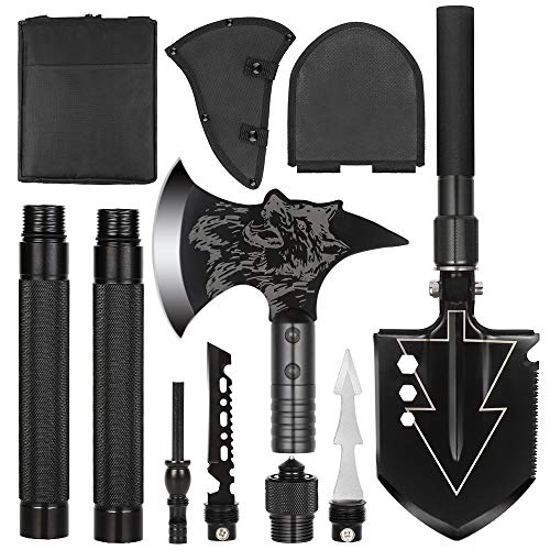 LIANTRAL Camping Shovel Axe Set- Folding Portable Multi Tool Survival Kits with Tactical Waist Pack, Camping Axe...