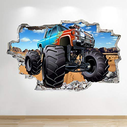 1Stop Graphics Shop Monster Truck Wandaufkleber 3D Optik - Jungen Kinder Mädchen Jungen Schlafzimmer Sport Wand Abziehbilder Z893 - Medium: 60 cm x 90 cm