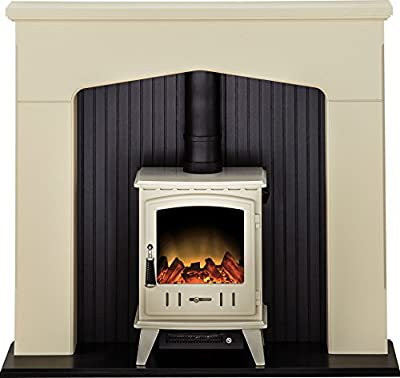 Adam Ludlow Stove Suite in Stone Effect with Aviemore Electric Stove in Cream, 48 Inch