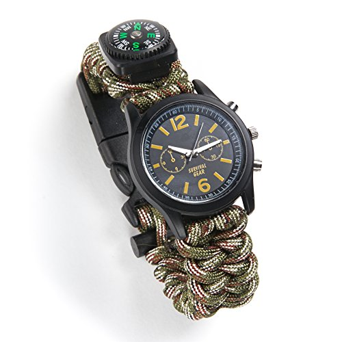 Equipped Outdoors Survival 6 in 1 Paracord Survival Safety Watch, Camo