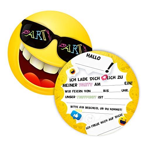 12 Einladungskarten für Geburtstag und Partys, die Smiley Karten sind die perfekten Einladungen für Mädchen und Jungen zum Kindergeburtstag und Anderen Feiern (12 Stück)